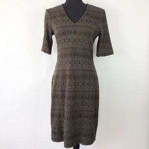 Worth Olive Green Fitted Dress 10 (1837)